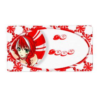 Etiqueta del regalo del chica de la hierbabuena etiqueta de envío