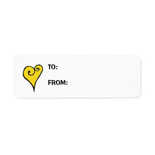 Etiqueta del regalo del corazón del amarillo del a etiquetas de remite