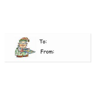 Etiqueta del regalo del duende del dibujo animado tarjetas de visita mini