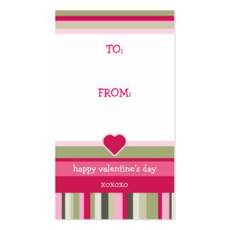 Etiqueta del regalo del el día de San Valentín Tarjetas De Visita