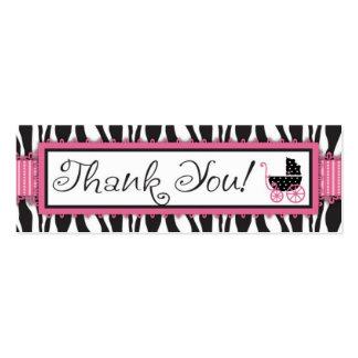Etiqueta del regalo del estampado de zebra y del c plantilla de tarjeta de visita