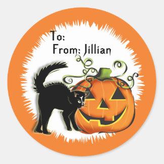 Etiqueta del regalo del gato de la Jack-O-Linterna