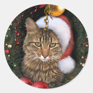 Etiqueta del regalo del gato de Santa