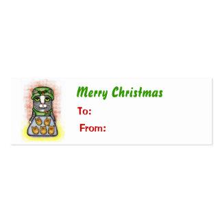 Etiqueta del regalo del gato del gatito del navida tarjetas de negocios