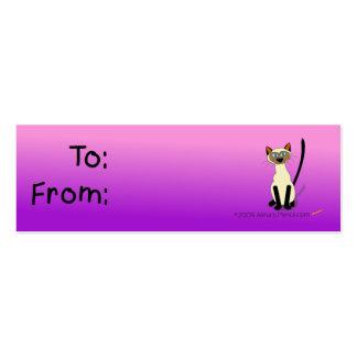 Etiqueta del regalo del gato siamés rosa y púrpur plantillas de tarjeta de negocio
