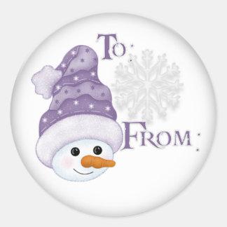 Etiqueta del regalo del gorra del muñeco de nieve