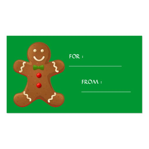 Etiqueta del regalo del hombre de pan de jengibre  tarjetas de visita