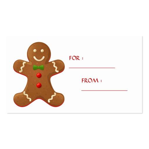 Etiqueta del regalo del hombre de pan de jengibre tarjetas de negocios