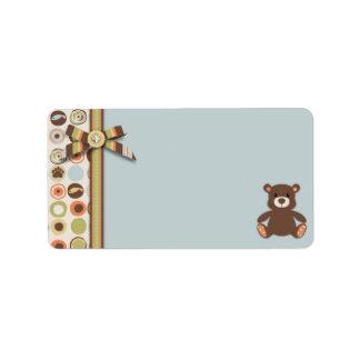 Etiqueta del regalo del muchacho del oso del oso etiquetas de dirección