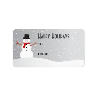 Etiqueta del regalo del muñeco de nieve Nevado Etiquetas De Dirección