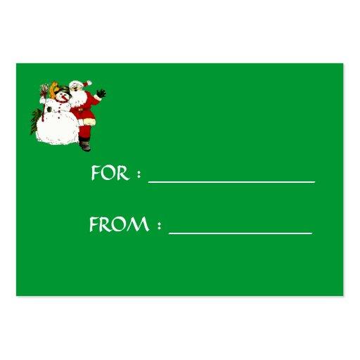 Etiqueta del regalo del muñeco de nieve y de Santa Tarjetas De Visita Grandes