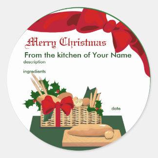 Etiqueta del regalo del navidad de la cesta del pa
