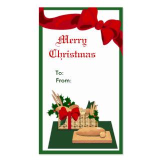Etiqueta del regalo del navidad de la cesta del pa tarjetas de visita