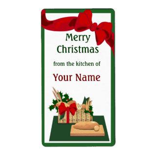 Etiqueta del regalo del navidad de la cesta del pa etiqueta de envío