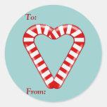 Etiqueta del regalo del navidad de los bastones de