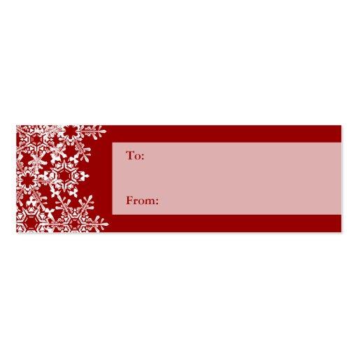 Etiqueta del regalo del navidad de los copos de tarjetas de visita mini