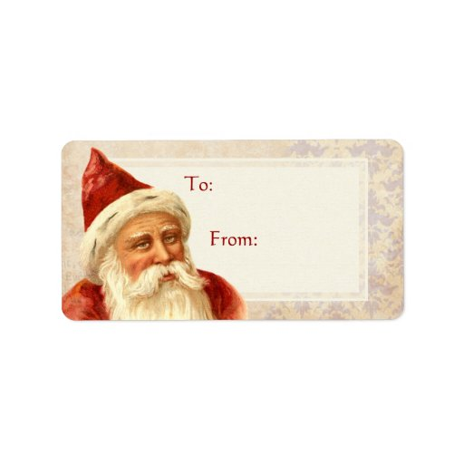 Etiqueta del regalo del navidad de Santa del vinta Etiqueta De Dirección