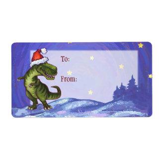 Etiqueta del regalo del navidad de TRex Dino Etiqueta De Envío