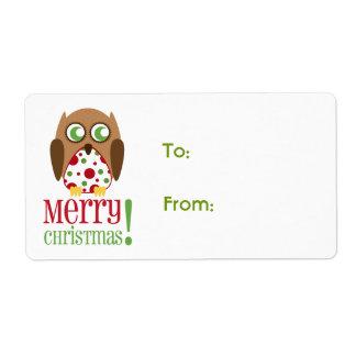 Etiqueta del regalo del navidad del búho del lunar etiquetas de envío