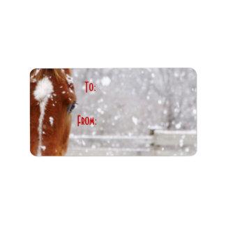 Etiqueta del regalo del navidad del caballo del in etiquetas de dirección