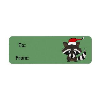 Etiqueta del regalo del navidad del mapache o etiqueta de remite
