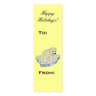 Etiqueta del regalo del navidad del oso polar del tarjetas personales