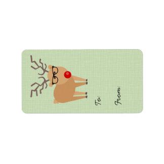 Etiqueta del regalo del navidad del reno de etiquetas de dirección