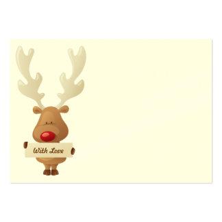 Etiqueta del regalo del navidad del reno tarjetas de visita grandes