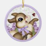Etiqueta del regalo del ornamento del conejito de adorno de navidad