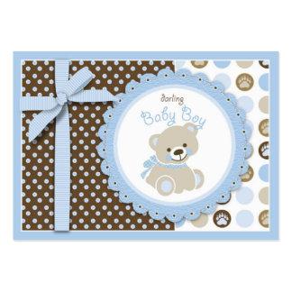 Etiqueta del regalo del oso de peluche del muchach plantilla de tarjeta de visita