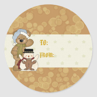 Etiqueta del regalo del oso del navidad
