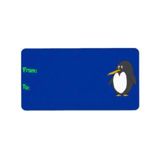 Etiqueta del regalo del pingüino etiquetas de dirección