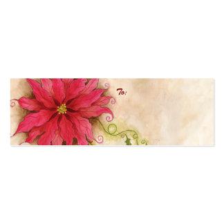 Etiqueta del regalo del Poinsettia y del acebo Tarjetas De Visita