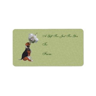 Etiqueta del regalo del rosa blanco del perrito de etiqueta de dirección
