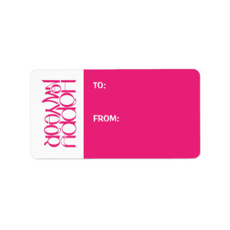 Etiqueta del regalo del rosa de la Feliz Año Nuevo Etiqueta De Dirección