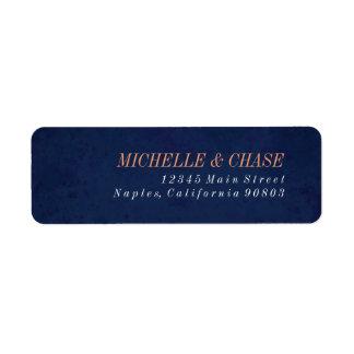Etiqueta del remite, azul marino, casando la etiquetas de remite
