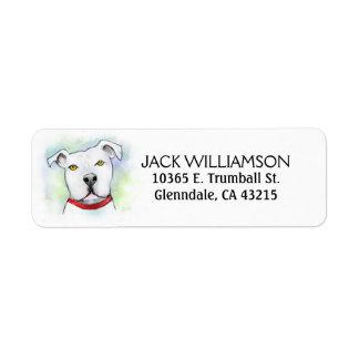 Etiqueta del remite - cabeza blanca del pitbull etiqueta de remite