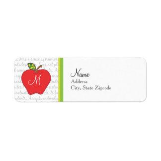 Etiqueta del remite de Apple del monograma Etiqueta De Remite