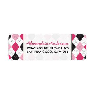 Etiqueta del remite de Argyle del diseñador (rosa/ Etiquetas De Remite