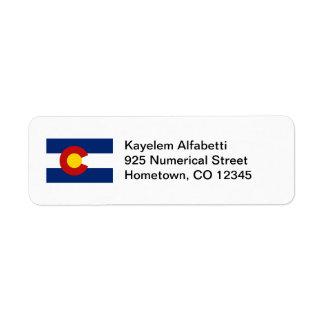 Etiqueta del remite de la bandera de Colorado Etiquetas De Remite