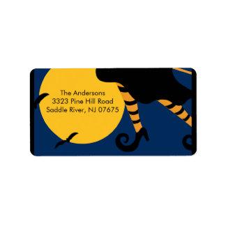 Etiqueta del remite de la bruja de Halloween Etiquetas De Dirección