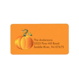 Etiqueta del remite de la calabaza de otoño etiquetas de dirección