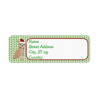 Etiqueta del remite de la chihuahua del navidad etiquetas de remite