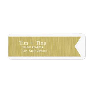 Etiqueta del remite de la cinta del oro etiqueta de remite