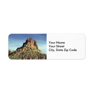 Etiqueta del remite de la cumbre de la montaña de etiqueta de remite