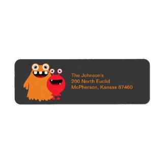 Etiqueta del remite de la diversión del monstruo etiqueta de remite