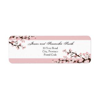 Etiqueta del remite de la flor de cerezo - blanco  etiqueta de remite
