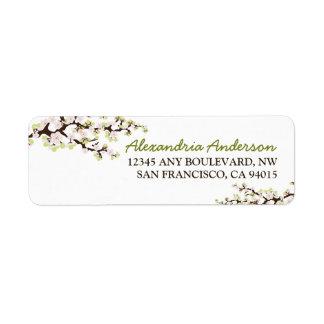 Etiqueta del remite de la flor de cerezo (cal) etiqueta de remite