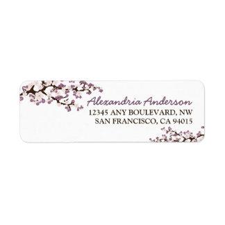 Etiqueta del remite de la flor de cerezo (púrpura) etiqueta de remite
