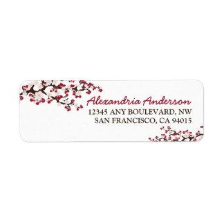 Etiqueta del remite de la flor de cerezo (roja) etiqueta de remite